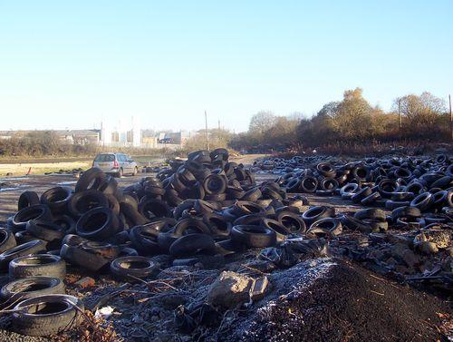Illegally dumped tyres in Bargeddie, Lanarkshire