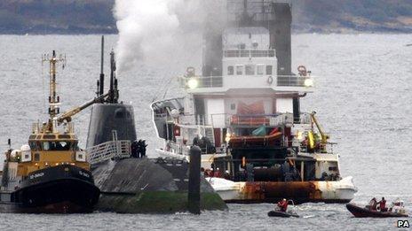 HMS Astute and tug