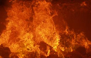 Waste incinerator flames