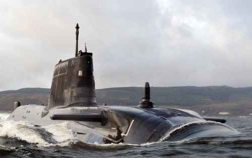 HMS Astute half submerged