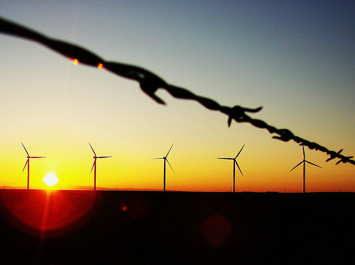 Wind turbines and barbed wire