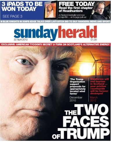 The front page of the Sunday Herald