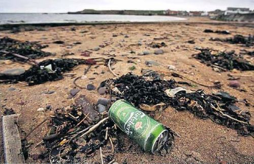 Polluted beach