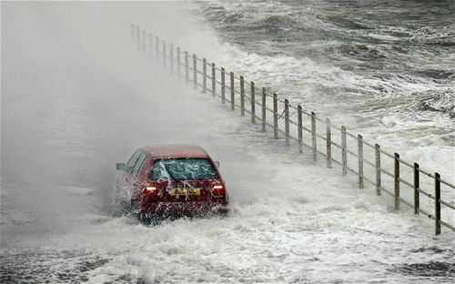 Car in the sea