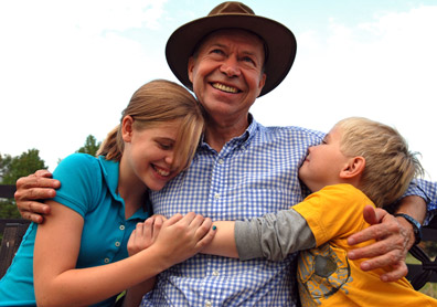 Jim Hansen with two of his grandchildren