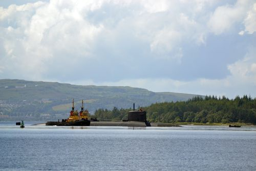 French nuclear submarine arrives at Faslane © Faslane Peace Camp