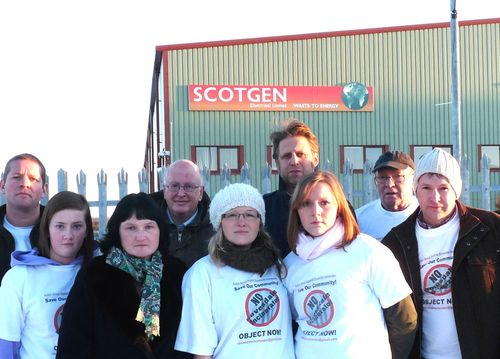 Protestors at Scotgen's plant in Dumfries