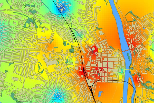 Map of air pollution in Perth