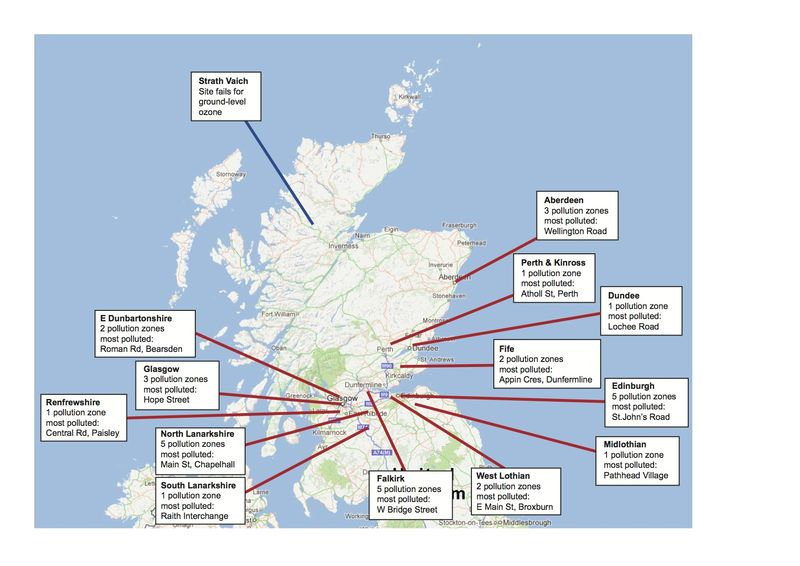 Map of Scotland's pollution zones