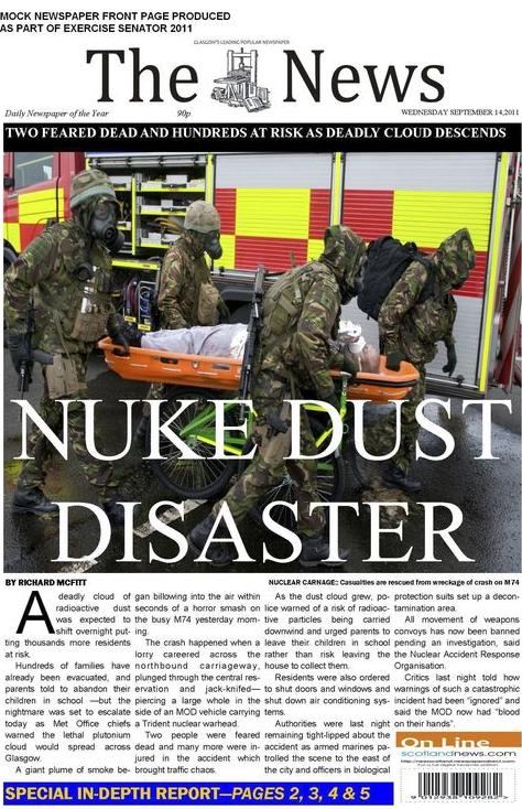Exercise SENATOR 2011 mock newspaper front page