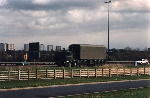 Nuclear weapons carrier near junction 5 of the M74 on 17 April 1993 ©John Ainslie