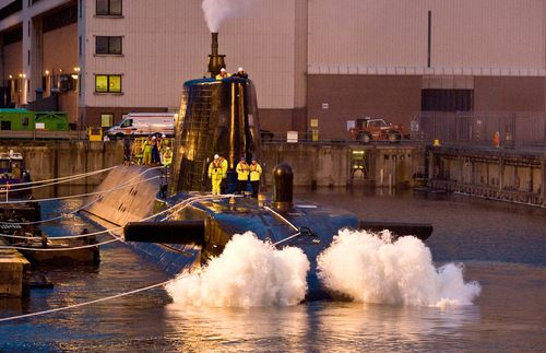 Astute submarine in wet dock quay, Barrow (photo by BAE Systems)