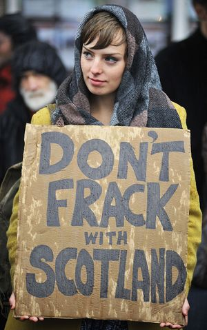 Protestor at SNP conference in Perth