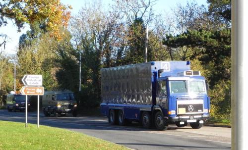 Nuclear materials convoy near Aldermaston on 10/11/10 ©Nukewatch