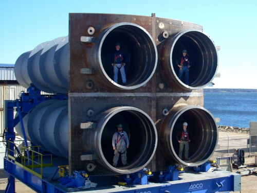 Pack of four Trident missile launch tubes