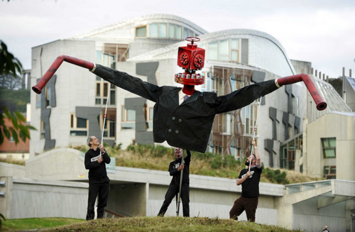 Mr Frackhead protest at the Scottish Parliament