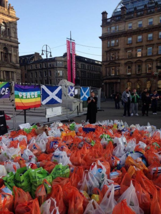 Foodbank donations in George Square, Glasgow