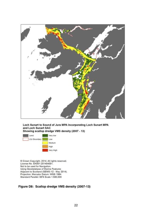 Map of scallop dredging in the Firth of Lorn