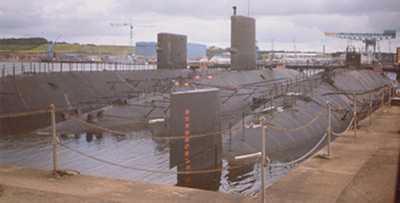 Defunct submarines at Rosyth (photo thanks to Scottish CND)