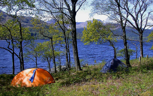 Camping on the loch shore