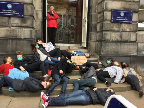 Protest on fossil fuel investments at Edinburgh University