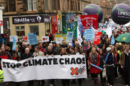 Protest by Stop Climate Chaos Scotland