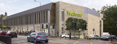 Indicative design of new Waitrose store in Corstorphine. Edinburgh