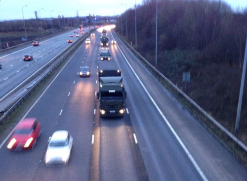 Nuclear weapons convoy at M6 junction 21 on 11 January ©nukewatch